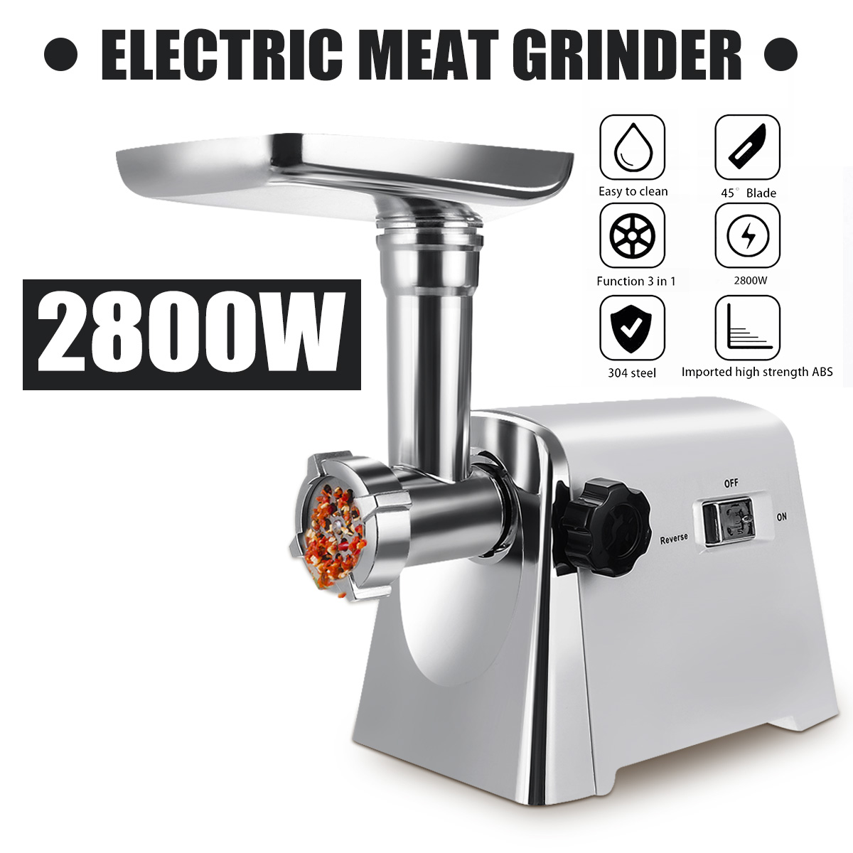 2800W 220V Powerful Stainless Steel Electric Meat Grinders Home Sausage Stuffer Meat Mincer Heavy Duty Household Meat Mincer