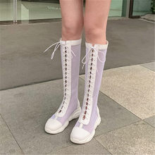PXELENA Punk Goth Women Summer Knee High Mesh Boots Large Size 34-45 Flat Platform Soft Comfort Lace Up Gladiator Sandals Shoes(China)