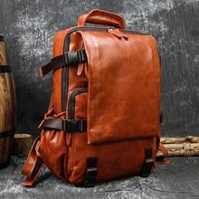 MAHEU Original Handmade Soft Leather Backpack Travel Bag Men Male Bagpack Featured Daypack of Genuine Leather