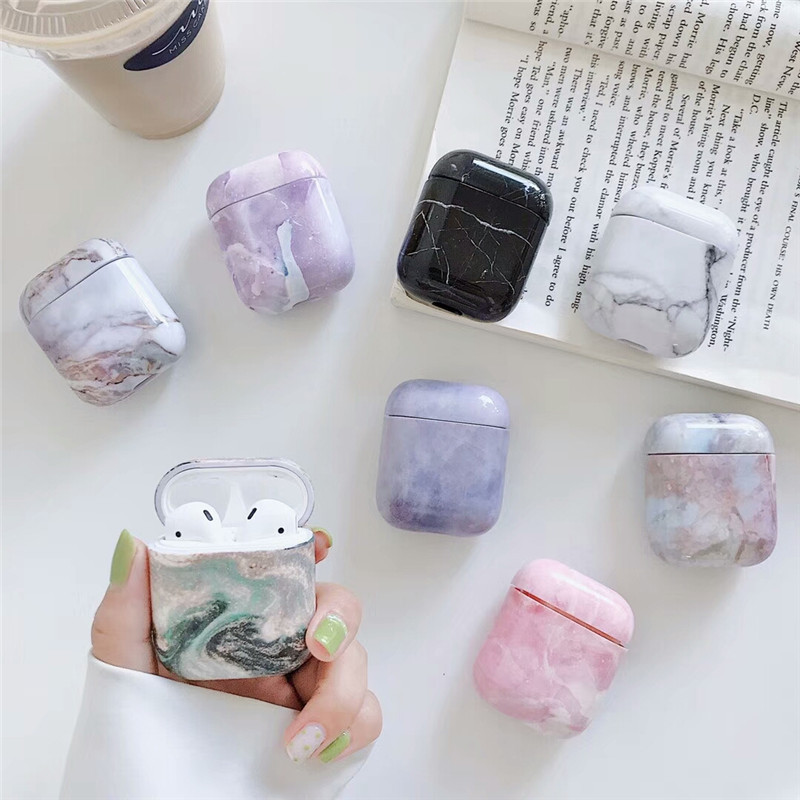 Luxury Marble Case For Original Apple Airpods 1 2 Case Hard PC Cover For Airpods Case Cover For Air Pods 2 Airpod Etui Cover