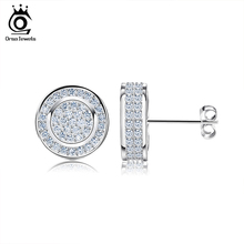 Classic Platinum Plated Silver Stud Earring Micro Paved AAA Austrian Cubic Zirconia for Party Fashion Women Jewelry OE130