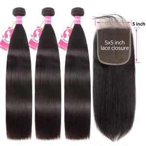 Image 1 - AliPearl Hairตรง 3 รวม 5x5 ปิดบราซิลผมสาน 3 รวมกลุ่มRemy Hair EXTENSION ali Pearl Hair