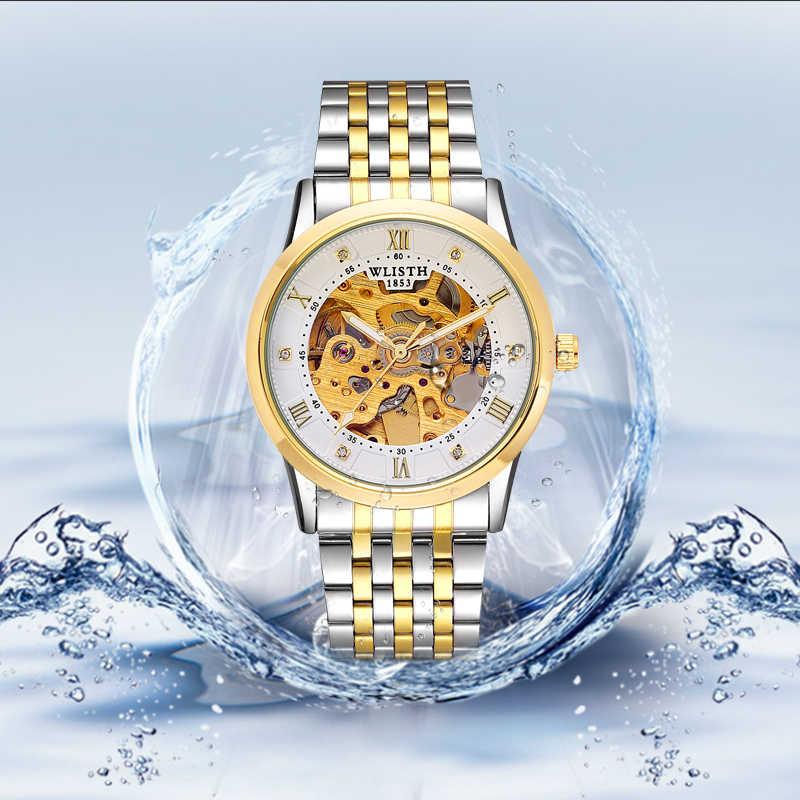 WLISTH ساعة جديدة الرجال الهيكل العظمي التلقائي ساعة ميكانيكية الذهب الهيكل العظمي خمر رجل ساعة رجالي FORSINING ساعة العلامة التجارية الفاخرة