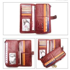 Image 5 - Couro genuíno das mulheres carteiras femininas bolsa de telefone celular bolso longo bolsa ferrolho senhora moeda titular do cartão carteras