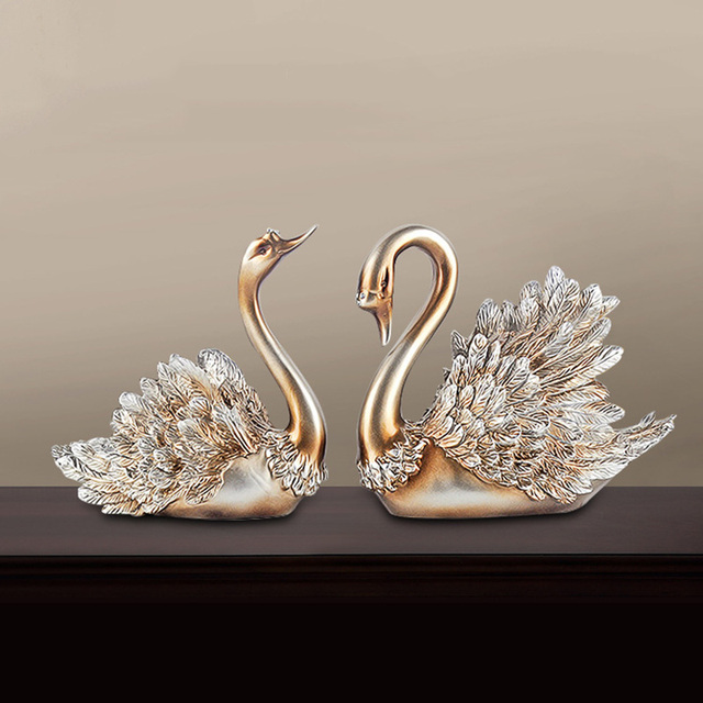 Christmas Halloween Home Decorations Accessories Swan Feng Shui Ornaments Creative Home Decor Figurine for Living Room, Bedroom 2