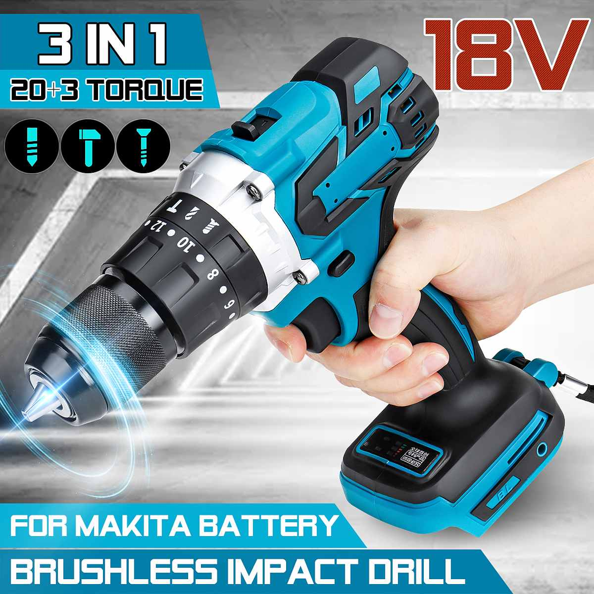 For Makita 18V Battery 3 in 1 Brushless Electric Hammer Drill Electric Screwdriver 13mm 20+3 Torque Cordless Impact Drill Electric Drills    - AliExpress
