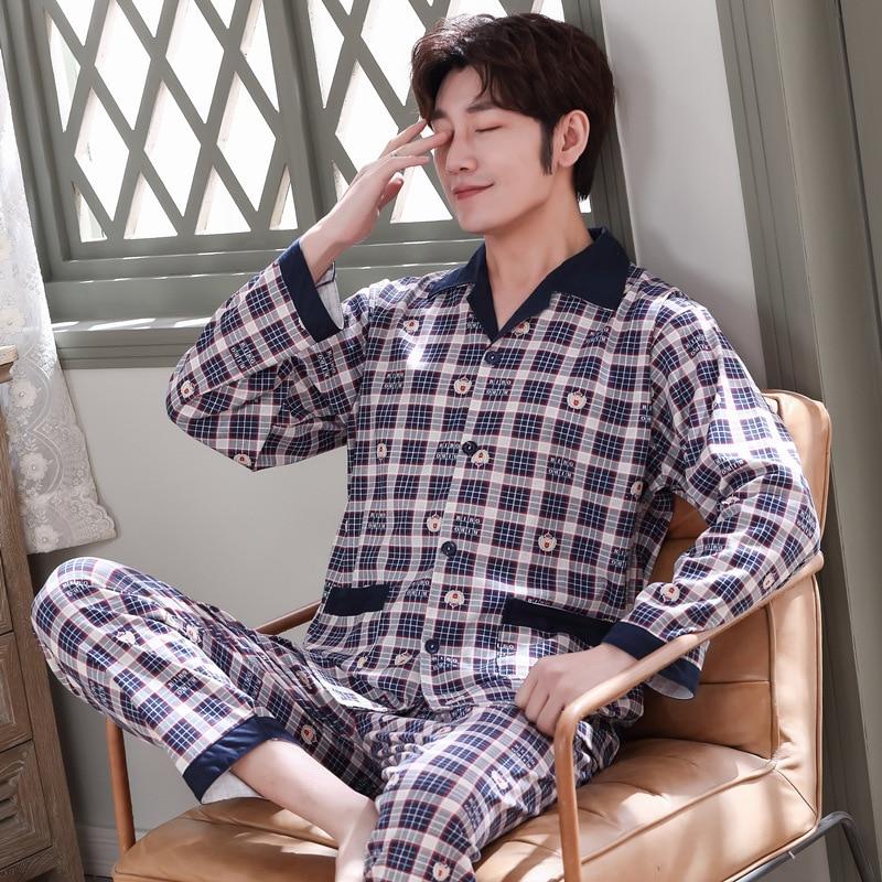 Men Pajamas Long Sleeve Pure Cotton Spring And Autumn Winter Style Tracksuit Pajamas Men's Summer Thin Autumn Greenish Blue Midd