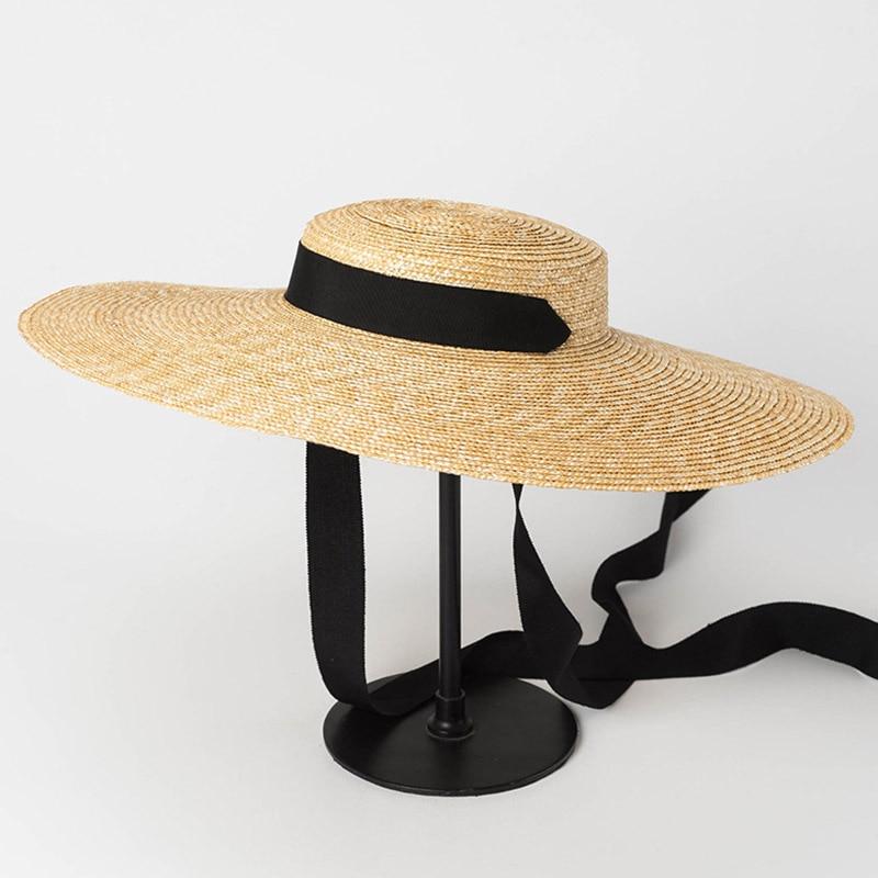 Wide Brim Boater Hat 19cm 15cm 10cm Brim Straw Hat Flat Women Summer Kentucky Derby Hat White Black Ribbon Tie Sun Hat Beach Cap