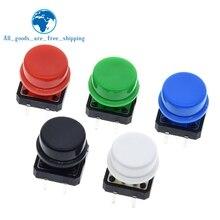 25PCS 촉감 푸시 버튼 스위치 순간 12*12*7.3MM 마이크로 스위치 버튼 + 25PCS 전술 캡 (5 색) Arduino 스위치