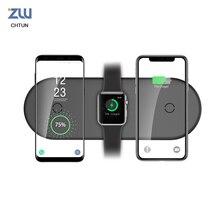 Q300 데스크탑 울트라 씬 더블 빠른 충전 15w10w7.5w 휴대 전화 시계 헤드셋 3 1 무선 충전기