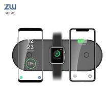 Q300เดสก์ท็อปUltra Thin Double Quickชาร์จ15w10w7.5wนาฬิกาโทรศัพท์มือถือชุดหูฟัง3 In 1 Wireless Charger
