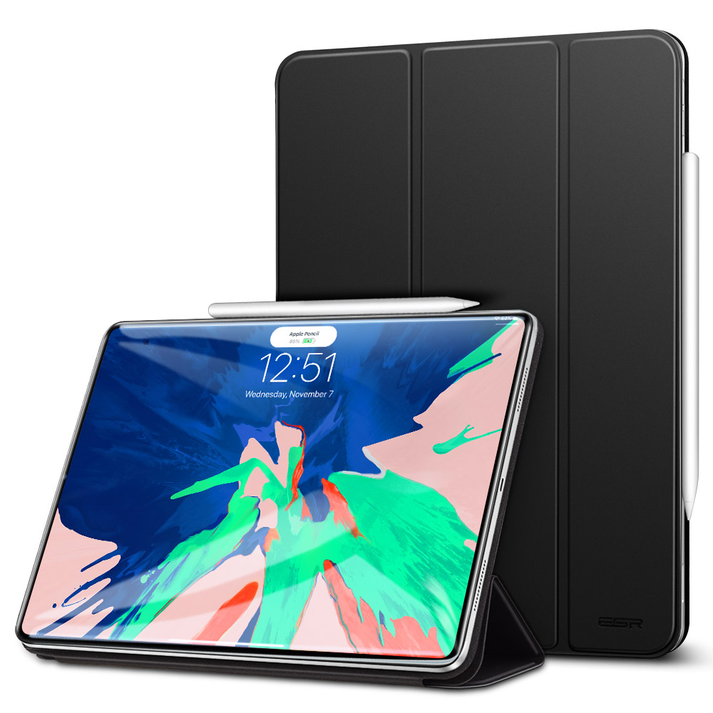 Mysterious Black ESR Magnetic Smart Cover with Trifold Stand and Rubberized Cover for iPad Pro 11 2018 A2013, A1934, A1979, A1980