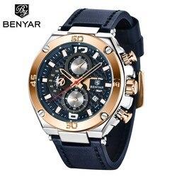 BENYAR duża tarcza wojskowy Sport Watch mężczyźni wodoodporna luksusowa marka kwarcowy odkryty skórzany chronograf armii Relogio Masculino|Zegarki kwarcowe|   -