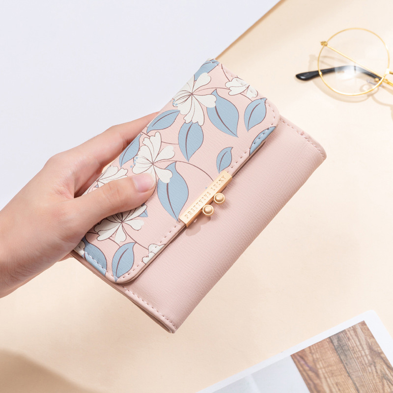 Women's Cute Fashion Purse Medium Printing Fresh Flower Wallet Coin Purse Female Three Fold Clutch Multifunction Carteira Female