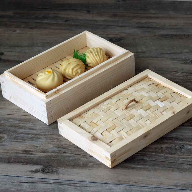 Rectangular Bamboo Chinese Fir Wood Steamed Bun Frame Large Wooden Steamer Drawer Square Box Cage Hong Kong Style Restaurant