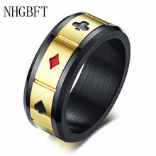 NHGBFT 8mm wide Stainless Steel Black Color Spinner Ring For Mens Lucky Playing Cards Poker Ring Male jewelry nhgbft punk style tire spinner chain rings for mens stainless steel black color biker ring male jewelry