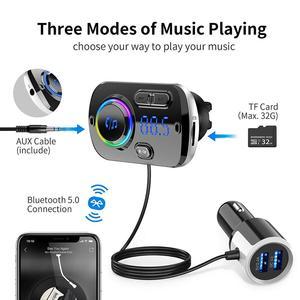 Image 2 - Bluetooth 5.0 Auto Fm zender Auto Fm Modulator Audio Receiver Draadloze MP3 Speler Tf Card Fast Charger Met 7 Kleuren lamp