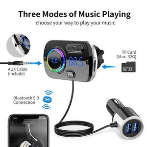 Image 2 - Bluetooth 5.0 Car FM Transmitter Auto FM Modulator Audio Receiver Wireless MP3 Player TF Card Fast Charger with 7 Colors Lamp