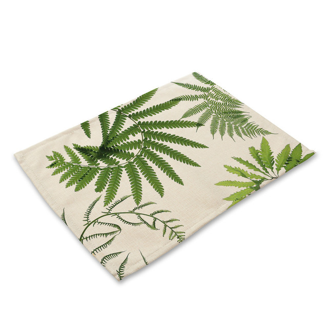 Green Leaf Print Table Coasters Placemat Dining Pad Cloth Mat Pattern Design Kitchen Accessories Decoration Home Table Cloth Tablecloths Aliexpress