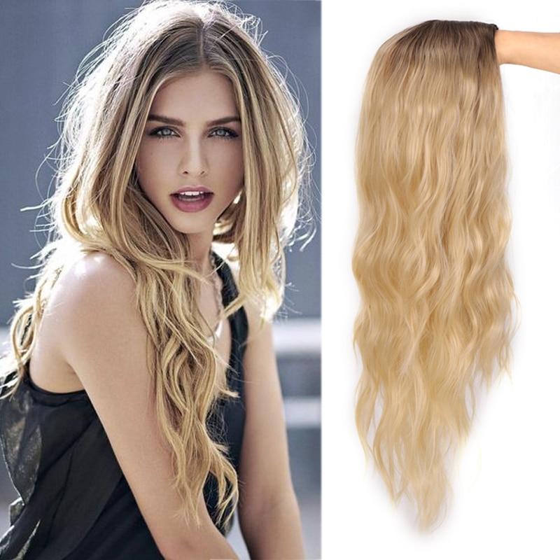 Женский парик AILIADE средней длины, длинные волнистые парики, термостойкие волоконные парики с эффектом омбре, светлые и розовые парики для же...