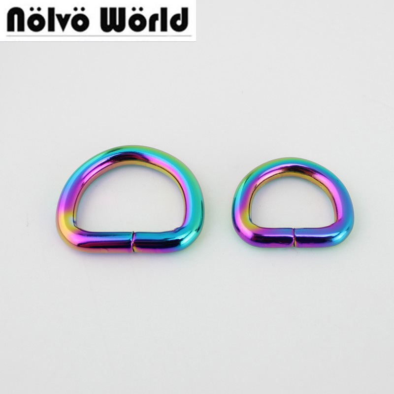 10pcs 50pcs 20mm 32mm 38mm Rainbow Opened D Ring Belt Buckle,zinc Alloy Hardware Metal 5.0mm Line For Bags Round Edge D Ring