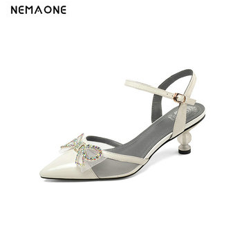 Genuine Leather Women Sandals 2020 New Fashion Elegant Bowknot Women Shoes Sexy Thin Heel Ladies Summer Casual Party Sandals