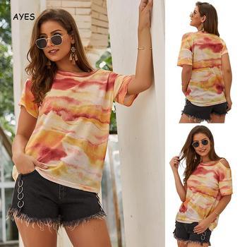2019 Summer Tshirt Women Tie Dyeing Tee Short Sleeve T Shirt Fashion Loose Tops Women Daily Wear Streetwear Hippie Tops T-Shirt