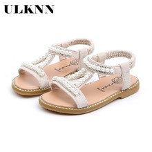 ULKNN 2020 New Girls Pearl Sandals Baby Princess Shoes No-slip Sandals For Girl Kids Flat Shoes Peep Toe Beach Sandals Children new hot women flat shoes elasticity bohemia leisure lady sandals peep toe outdoor shoes 17mar13