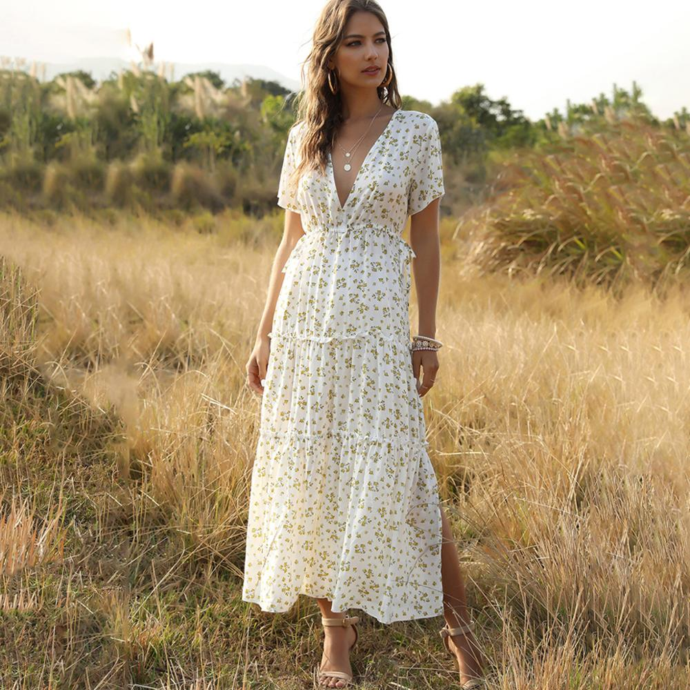 White Long Dress Women Elegant Floral Ruffle Sexy Deep V Neck Slit Dresses Summer Casual 2020 Blue Midi Clothes Ruched Trendyol(China)