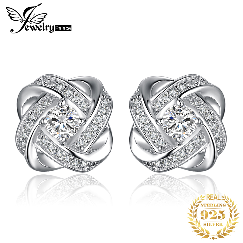 JewelryPalace Love Knot CZ Stud Earrings 925 Sterling Silver For Women Girls Korean Fashion Jewelry 2019