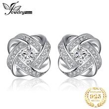 JewelryPalace Love Knot CZ Stud Earrings 925 Sterling Silver Earrings For Women Girls Korean Earrings Fashion Jewelry 2020