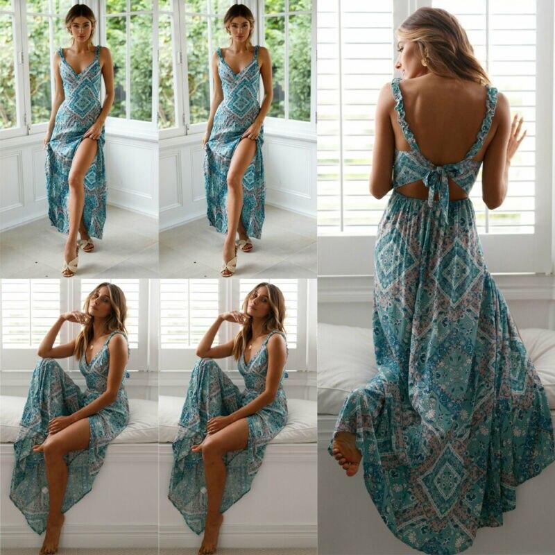 Vintage Women/'s Boho Flower Maxi Dress Party Evening Clubwear Summer Beach Robe