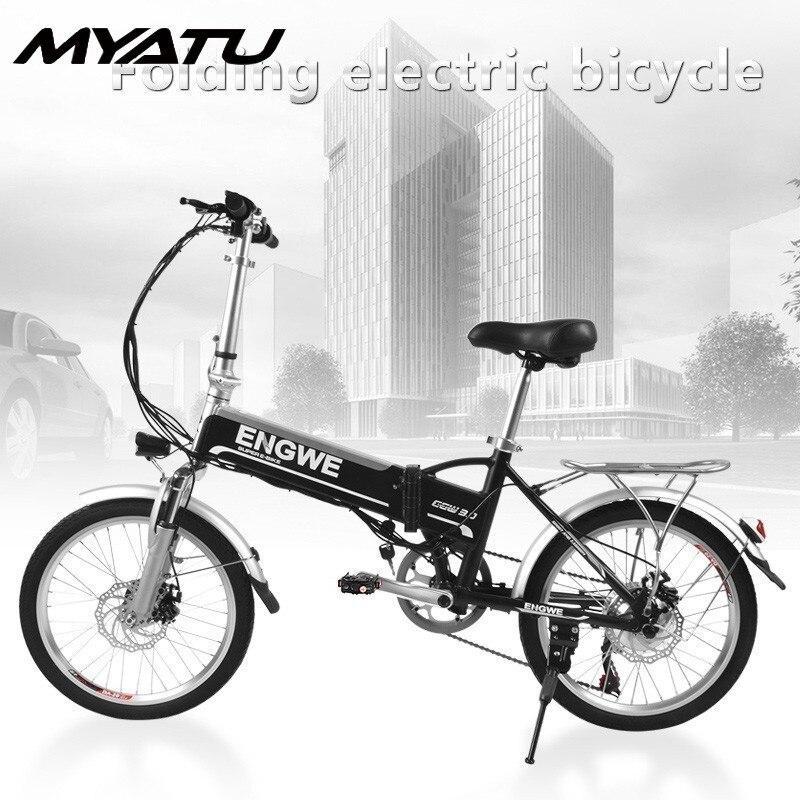 MYATU 2019 Nova Chegada Bicicleta Elétrica 20 Avançou 8AH Dobrar Ciclomotor Bicicleta Elétrica Pneu De Borracha Inflável Com Freio A Disco