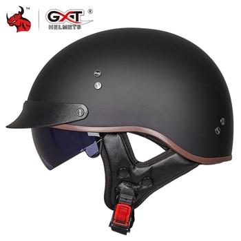 GXT Retro Vintage Motorcycle Helmet Moto Helmet Open Face Scooter Biker Motorbike Racing Riding Helmet With DOT Certification