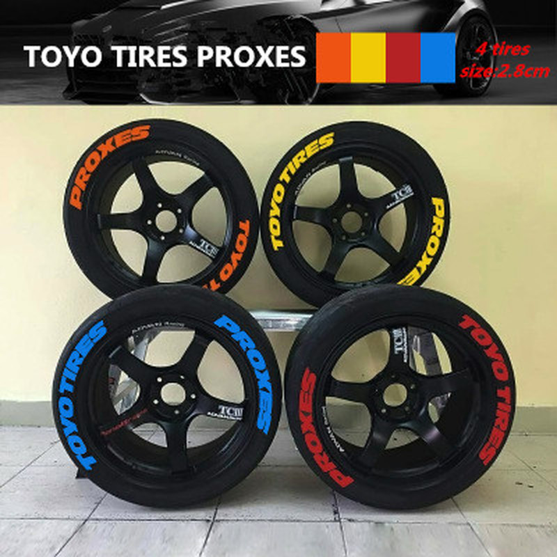 Universal Tire Sticker 3D Logo Car Styling Wheel Decals Permanent Rubber Tire Letters Stickers TOYO TIRES PROXES Car Tuning