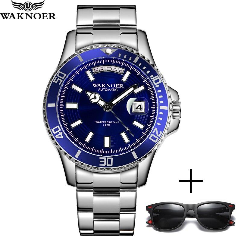 WAKNOER Top Brand Men Mechanical Watch Automatic Waterproof Business Luxury Stainless Steel Clock Relogio Masculino Reloj Hombre