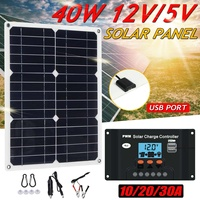 Portable 40W Solar Panel 12V Polycrystalline Double USB Power Solar Cell Car Ship Outdoor Camping Phone Charger w/Solar Charger