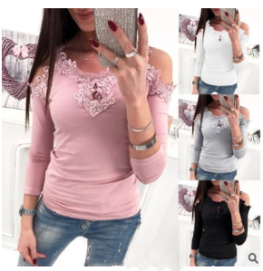 Lugentolo  T Shirt Women Off-the-shoulder Long-sleeved Round Neck Lace Openwork Slim Casual New Style  Plus Size XL