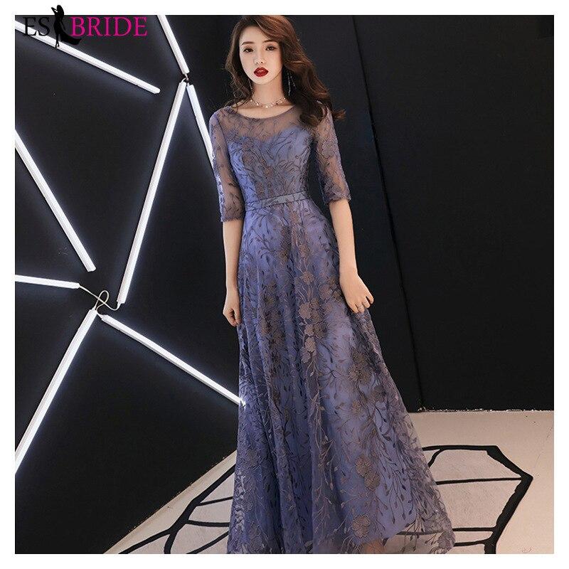 Élégant bleu dentelle robes de soirée longue ES30235 a-ligne col rond demi manches formelle robes de soirée Abendkleider