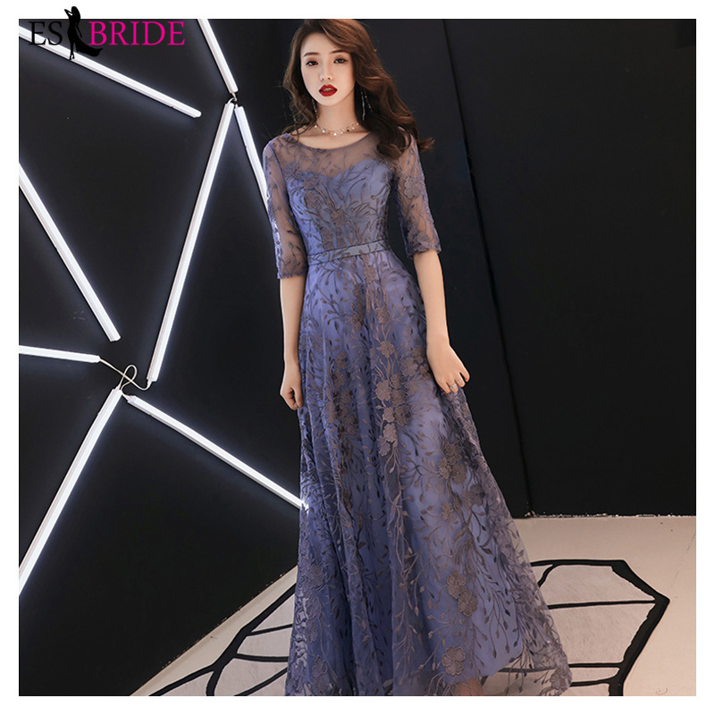 Elegant Blue Lace Evening Dresses Long ES30235 A-Line O-Neck Half Sleeves Formal Evening Party Gowns Abendkleider