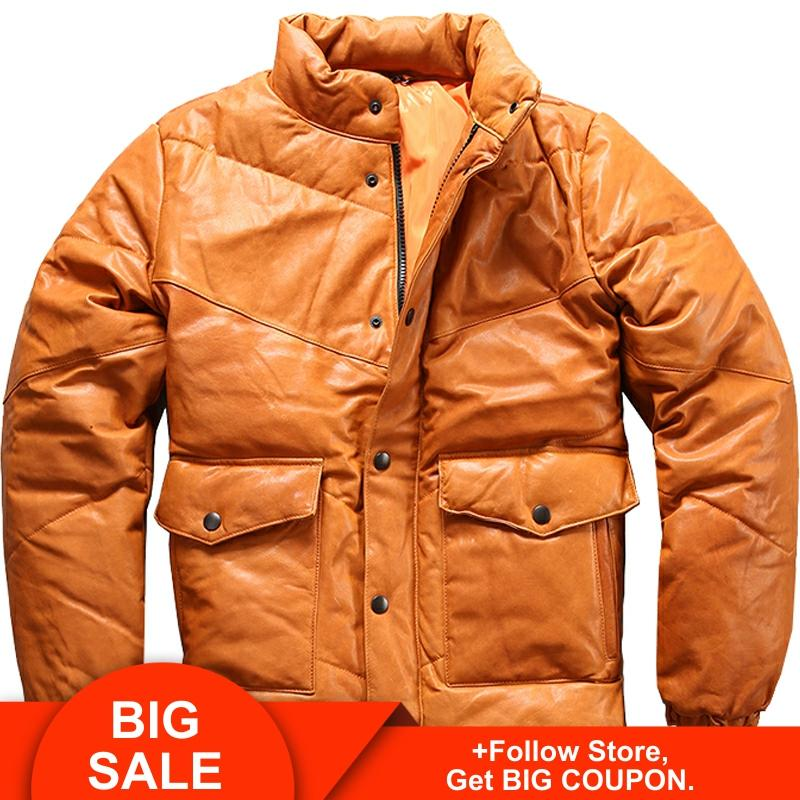 2020 Yellow Men Winter Thick Genuine Leather Down Jacket Plus Size 3XL Russian Slim Fit Casual Sheepskin Down Coat FREE SHIPPING