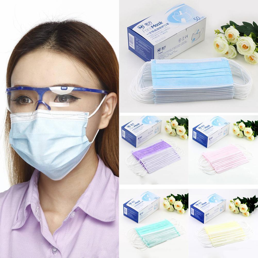 50pcs Stofdicht Mond Gezichtsmasker Unisex Gezicht Mond Maskers Wegwerp Maskers 3 Lagen Anti-stof Voor Chirurgische Medische