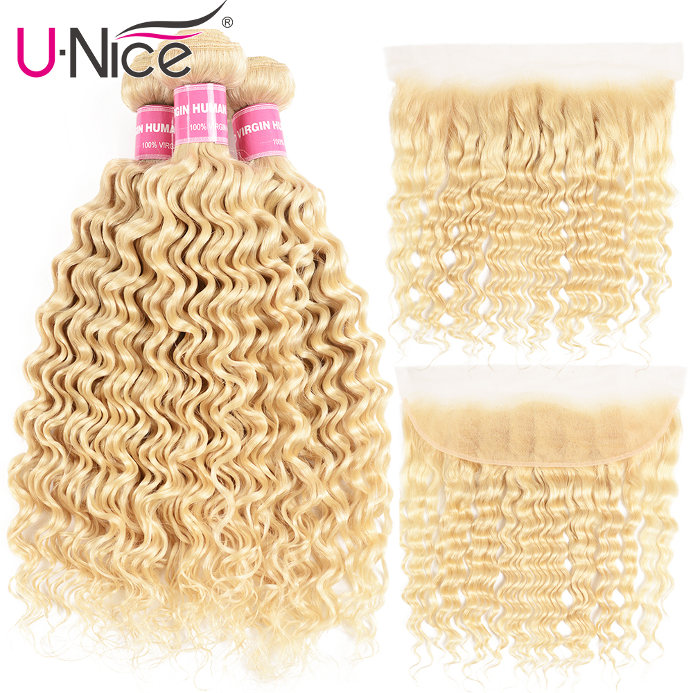 Unice Hair 613 Blonde Bundles With Frontal Brazilian Deep Wave Remy Human Hair 3 Bundles With Frontal Free Shipping image