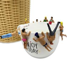 8Pcs Hanging Cups Model Toy Mini Simulated People in Swimsuit Doll Hanging Cups Dollhouse Pendant Decor Funny to Play