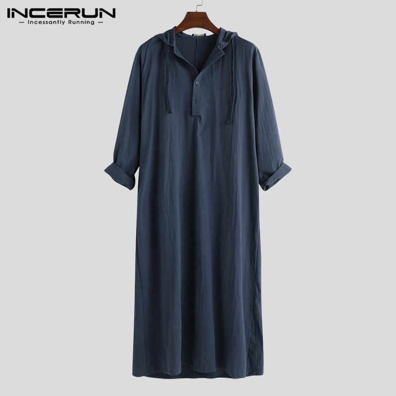 Moda islámica Jubba Thobe manga larga bata camisas Hoodies Arabia Saudita Kaftan largo Jubba Thobe Hombre musulmán hombres Abaya ropa