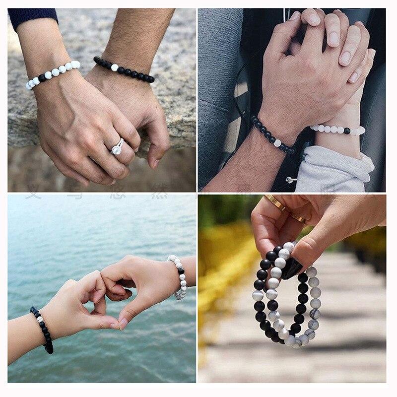 2Pcs/set Couple Distance Beaded Bracelet Natural Stone Strand Bracelets Homme Charm Yoga Jewelry Gifts for Women Men Best Friend 5