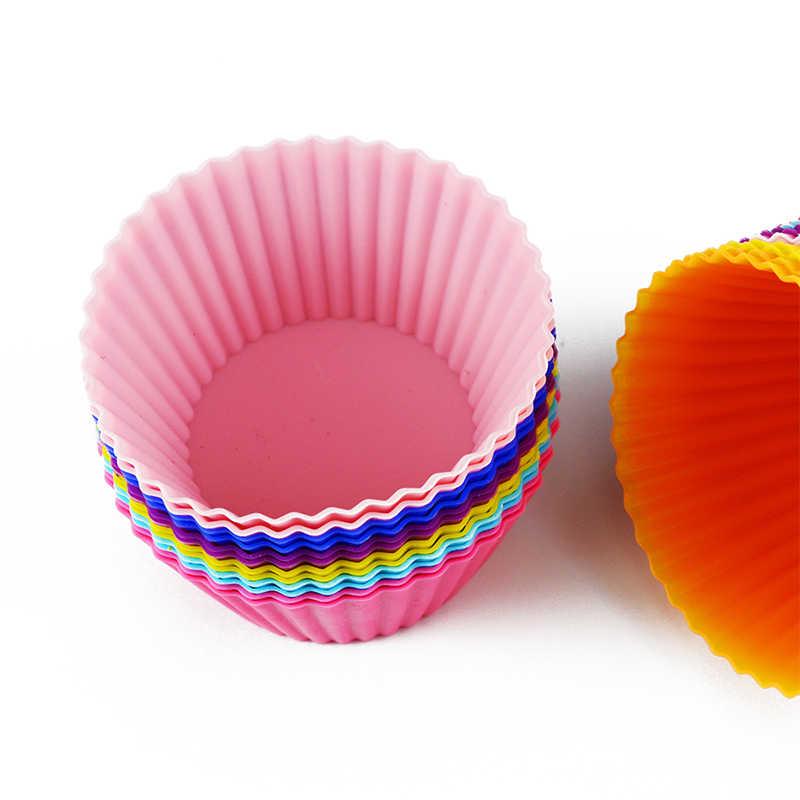 6 قطعة قالب من السيليكون القلب كب كيك الصابون سيليكون قالب الكعكة الكعك الخبز نونستيك ومقاومة للحرارة قابلة لإعادة الاستخدام