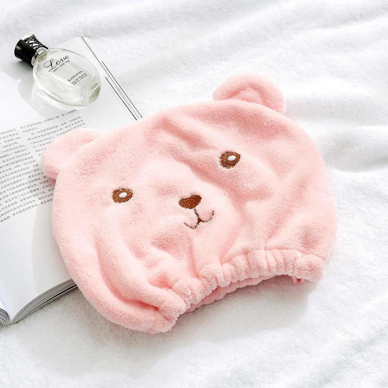Miękka mikrofibra Cartoon niedźwiedź szybko suche włosy kapelusz włosy Turban kobiety dziewczyny panie Cap ręcznik kąpielowy suszenie chusta na głowę