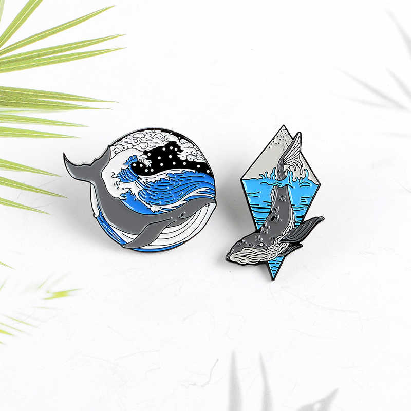 Hewan Pin Gelombang Laut Paus Enamel Pin Fashion Bros Lencana Tas Aksesoris Pakaian Kerah Pin Perhiasan Hadiah untuk Teman