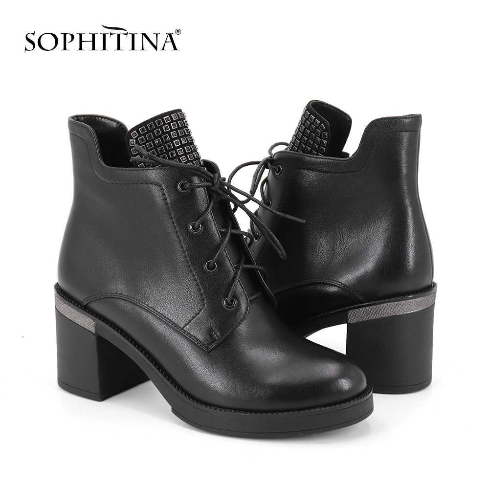 SOPHITINA moda özel tasarım bayan botları yüksek kalite hakiki deri yuvarlak ayak ayakkabı rahat kare topuk çizmeler SC343